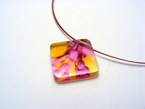 Bold Blossom Pink and Yellow Pendant 6mm Dia 1