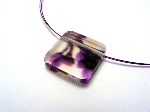 Bold Blossom Purple Pendant 6mm Sq. 1