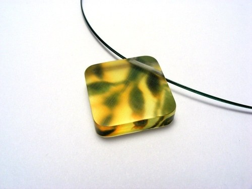 Bold Blossom Green and Yellow Pendant 6mm Dia 1