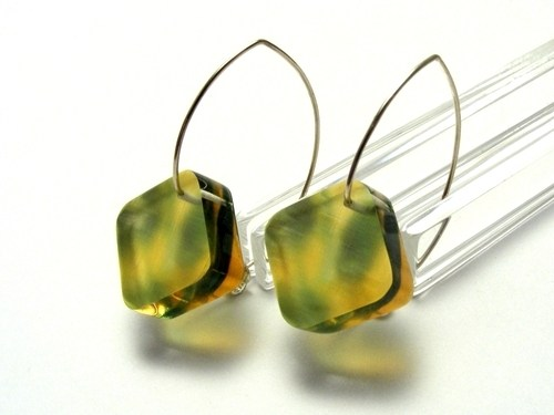 Bold Blossom Green and Yellow Earrings 6mm Dia 1