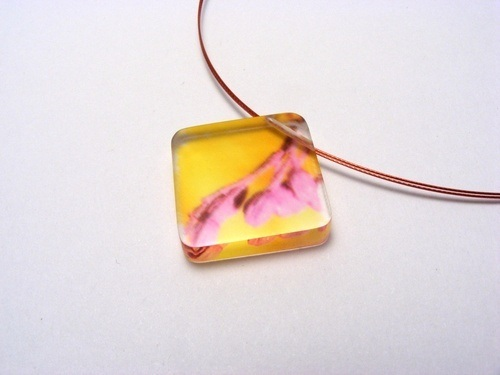 Bold Blossom Pink and Yellow Pendant 6mm dia two 1