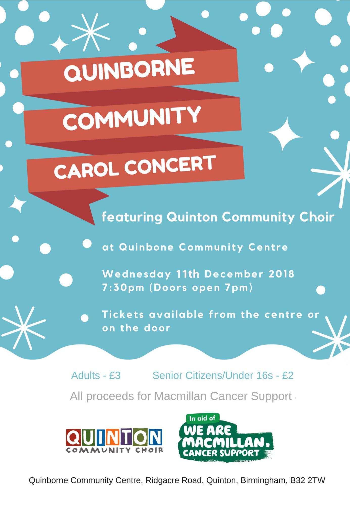 Quinborne Community Carol Concert 2018 Poster