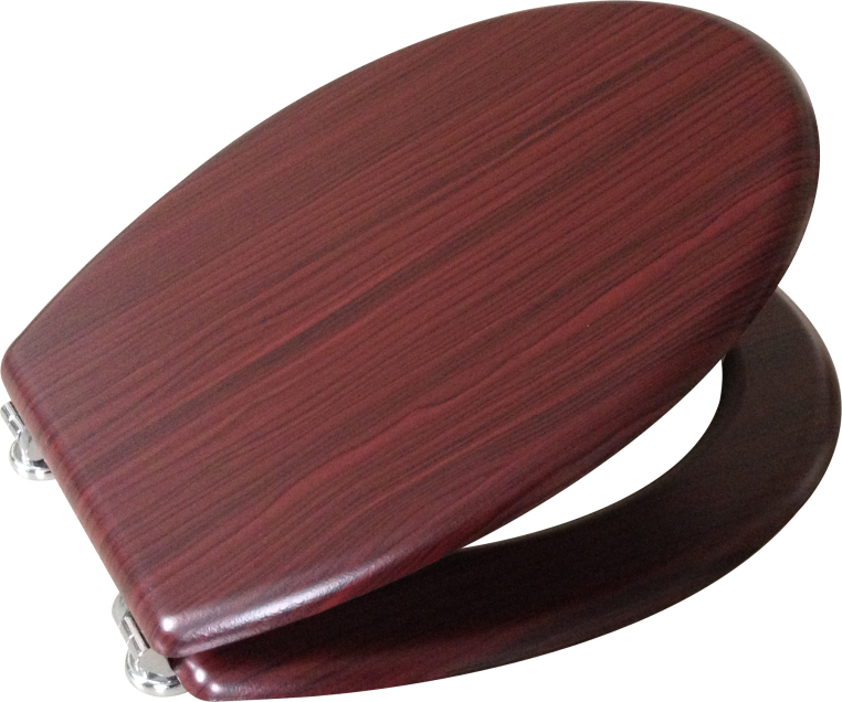 Mahogany MDF Toilet seat chrome hinge set