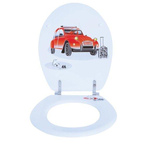 Moulded wood Toilet seat with 2CV Motif finished with Chrome Hinge