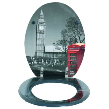 Moulded wood Toilet seat with London Design finished with Chrome Hinge by MSV