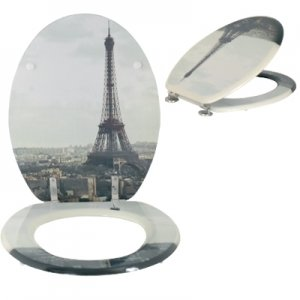 Moulded wood Toilet seat with Paris Design finished with Chrome Hinge by MSV