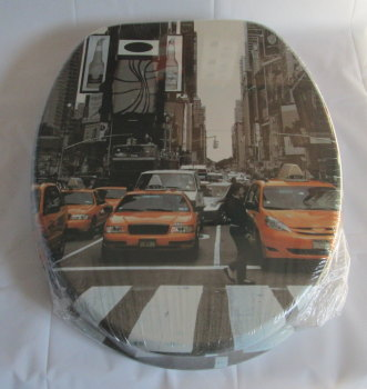 New York City Print Toilet Seat with Chrome finish hinge