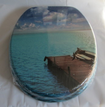 Beach Jetty Print Toilet Seat with Chrome finish hinge
