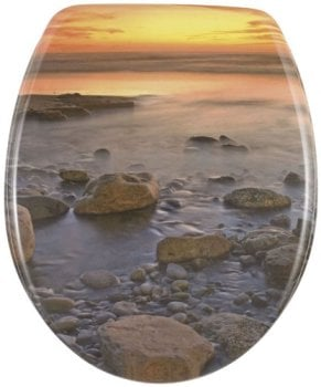 Beach Wenko Thermoset Plastic Toilet Seat with Stone Shore design print and Chrome fittings