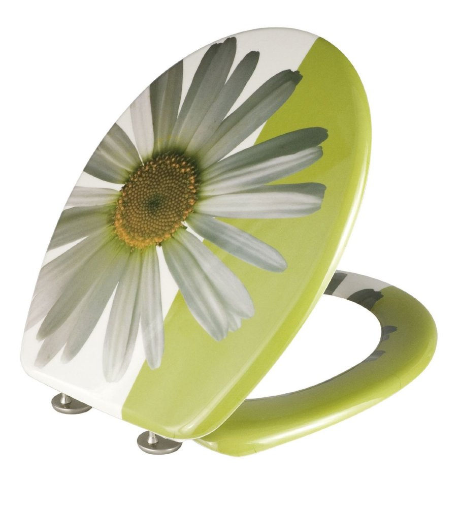 Wenko Thermoset Plastic Toilet Seat with Daisy design print and Chrome fitt