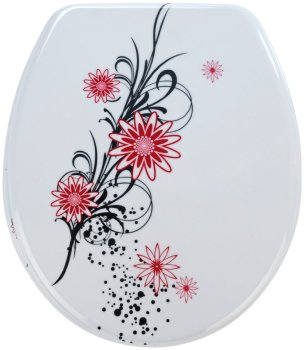 Wenko Thermoset Plastic Toilet Seat with Belle Fleur design print and Chrome fittings
