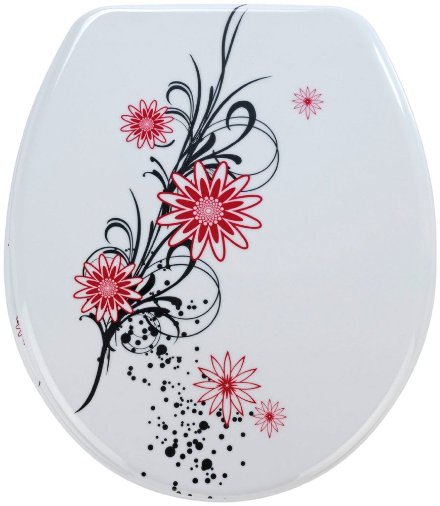 Wenko Thermoset Plastic Toilet Seat with Belle Fleur design print and Chrom