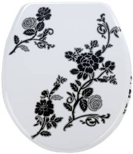 Wenko Thermoset Plastic Toilet Seat with Rose Noir design print and Chrome