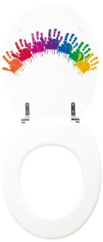 White Kids Colour Handprint Moulded wood Toilet seat with Chrome finish hinges