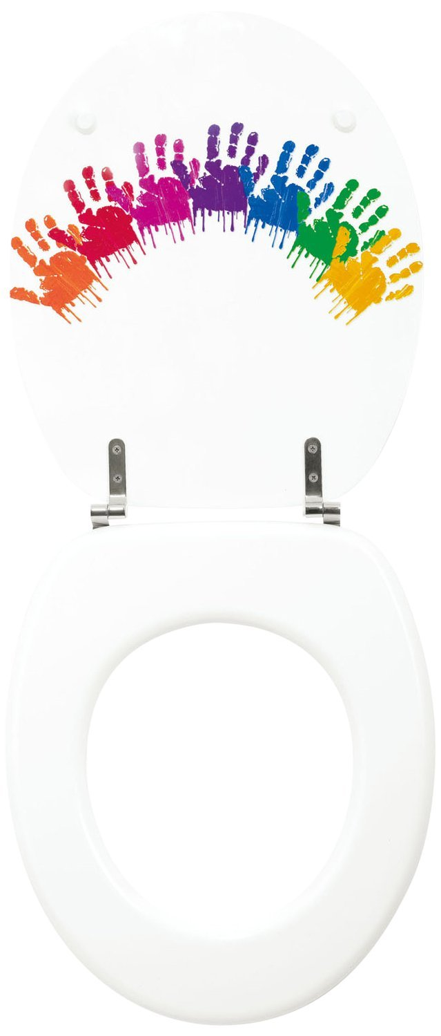 Kids Colour Handprint Moulded wood Toilet seat with Chrome finish hinges