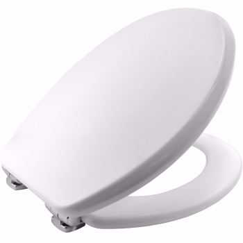 Bemis Asti Moulded Wood Seat in White with Adjustable Chrome Plate Hinges