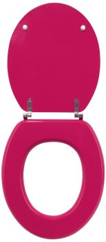 Raspberry colour finish Toilet seat with Chrome finish Hinge