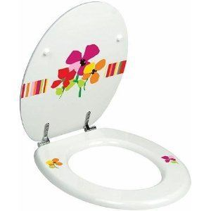 White Floral Picture Moulded wood toilet seat with Chrome hinge.