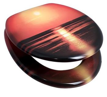 Beach Sunset Pattern Toilet Seat with Chrome finish hinge