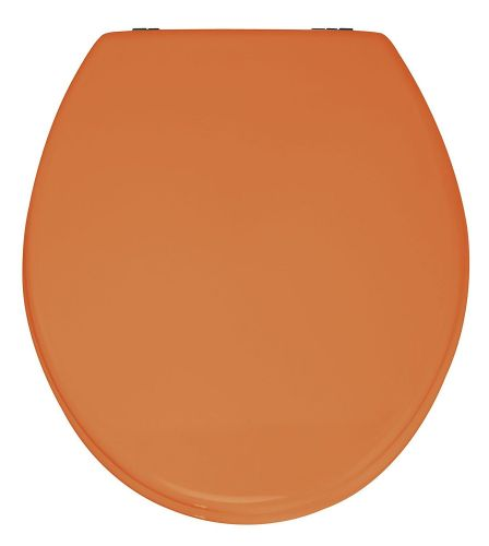 Wenko MDF Toilet Seat in Orange with Chrome finish Hinge