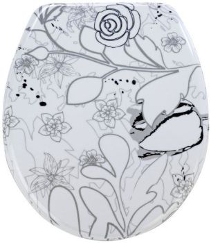 Wenko Thermoset Plastic Toilet Seat with Jardin design print and Chrome fittings
