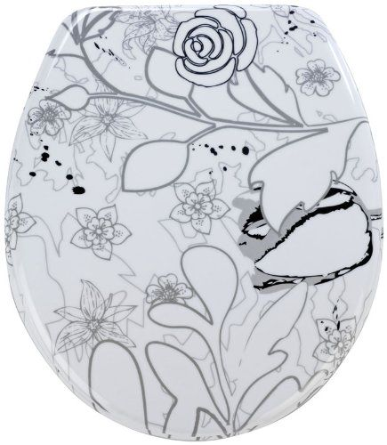 Wenko Thermoset Plastic Toilet Seat with Jardin design print and Chrome fit