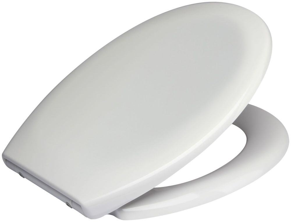 Wide Hinge White Duroplast Toilet Seat with Adjustable Slow Close Chrome Fi