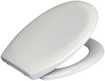 Wide Hinge White Duroplast Toilet Seat with Adjustable Slow Close Chrome Finish Hinge