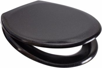 Black Fine Glitter Duroplast Soft Close Toilet Seat w/ One Button Release