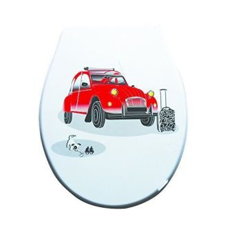 White Moulded wood Toilet seat with 2CV Motif finished with Chrome Hinge