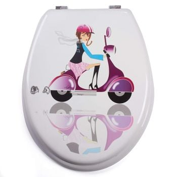 White Moulded wood Toilet seat with Jane Motif finished with Chrome Hinge