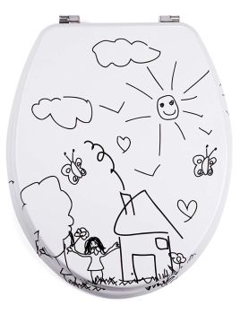 White Moulded wood Toilet seat with Jardin d'Enfant Design finished with Chrome Hinge by MSV