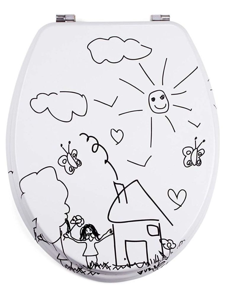 Moulded wood Toilet seat with Jardin d'Enfant Design finished with Chrome H