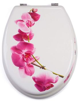 White Moulded wood Toilet seat with Lanyu White Design finished with Chrome Hinge by MSV