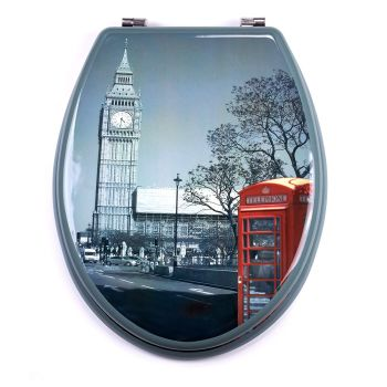 Print - Big Ben Moulded wood Toilet seat finished with Chrome Hinge by MSV
