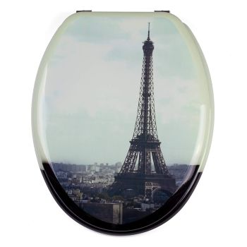 Print - Paris Design Moulded wood Toilet seat finished with Chrome Hinge by MSV