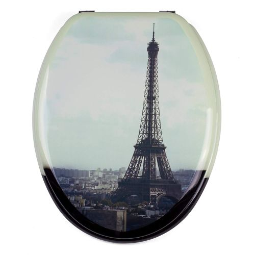 Moulded wood Toilet seat with Paris Design finished with Chrome Hinge by MS