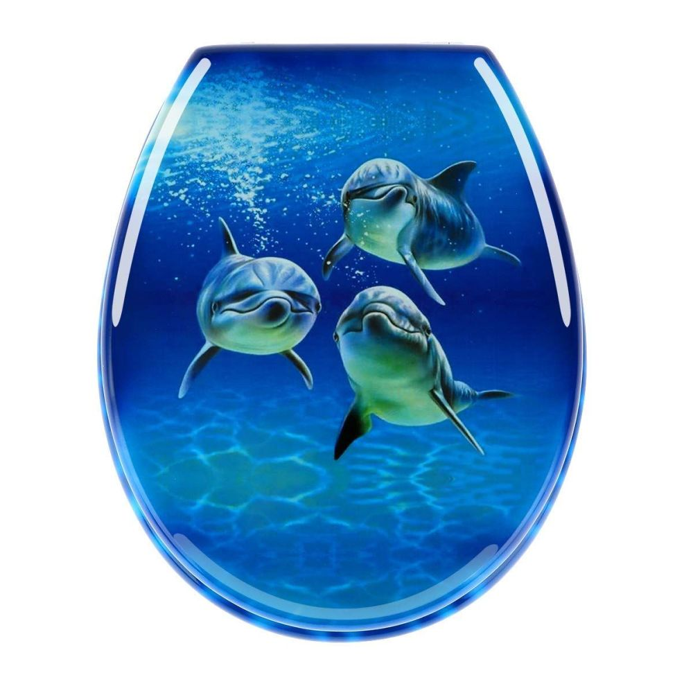 Beach Dolphins Print Finsh Toilet Seats by Euroshowers