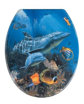 Beach Wenko Dolphin Mdf Toilet Seat with Chrom finish hinge