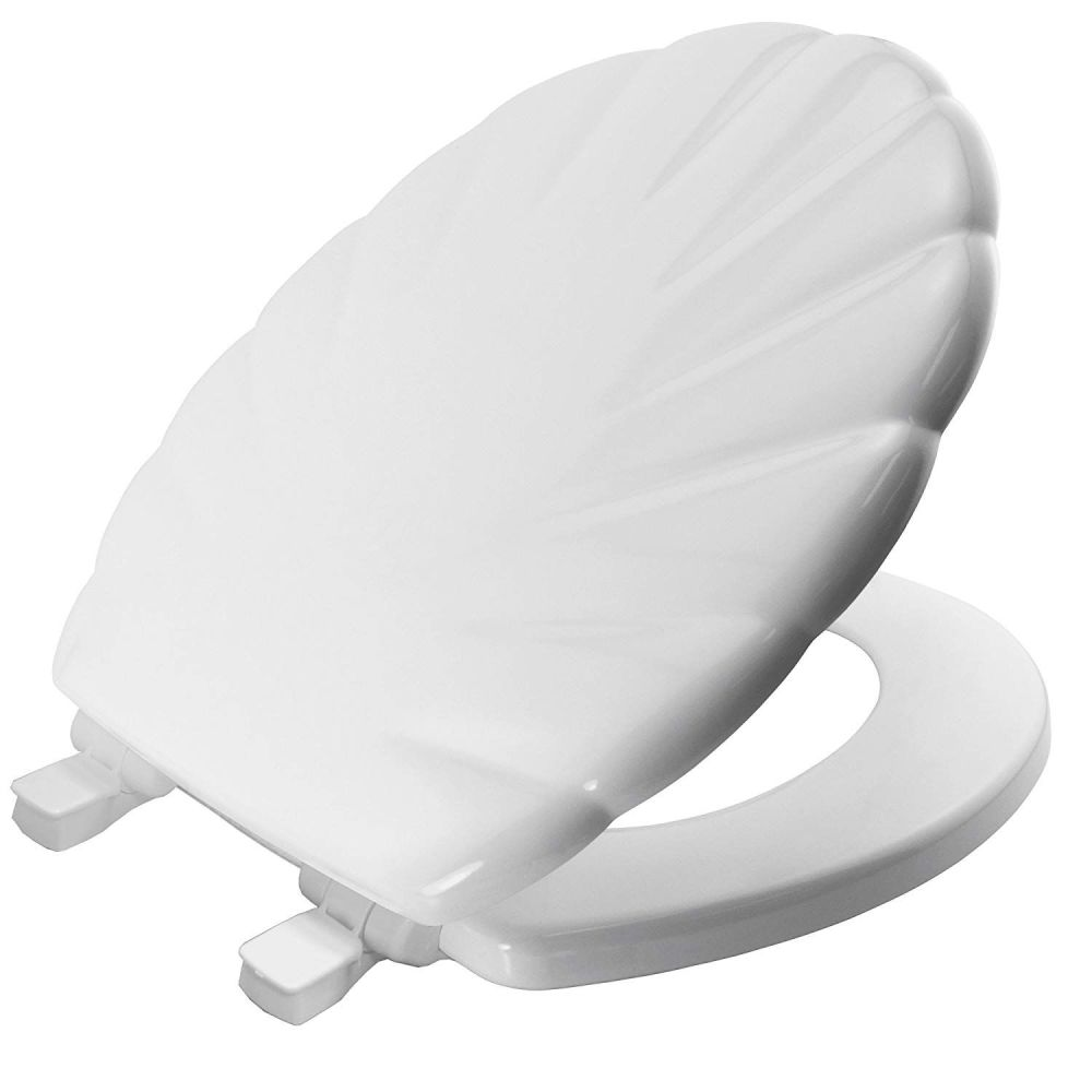 White Bemis Solid White Moulded Wood Toilet Seat with Shell Pattern Finish