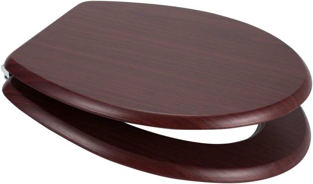 Mahogany Moulded Wood Toilet Seat with chrome finish hinge