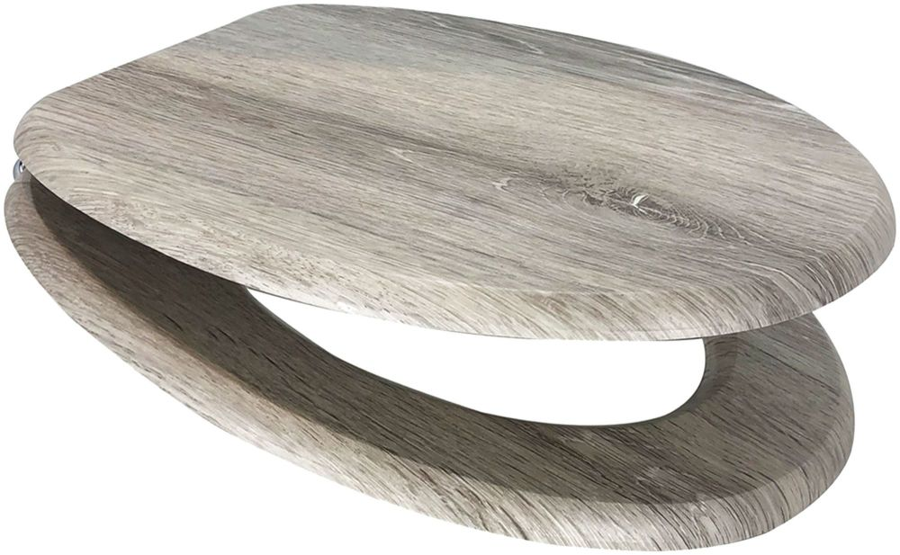 Grey Oak Moulded Wood Toilet Seat