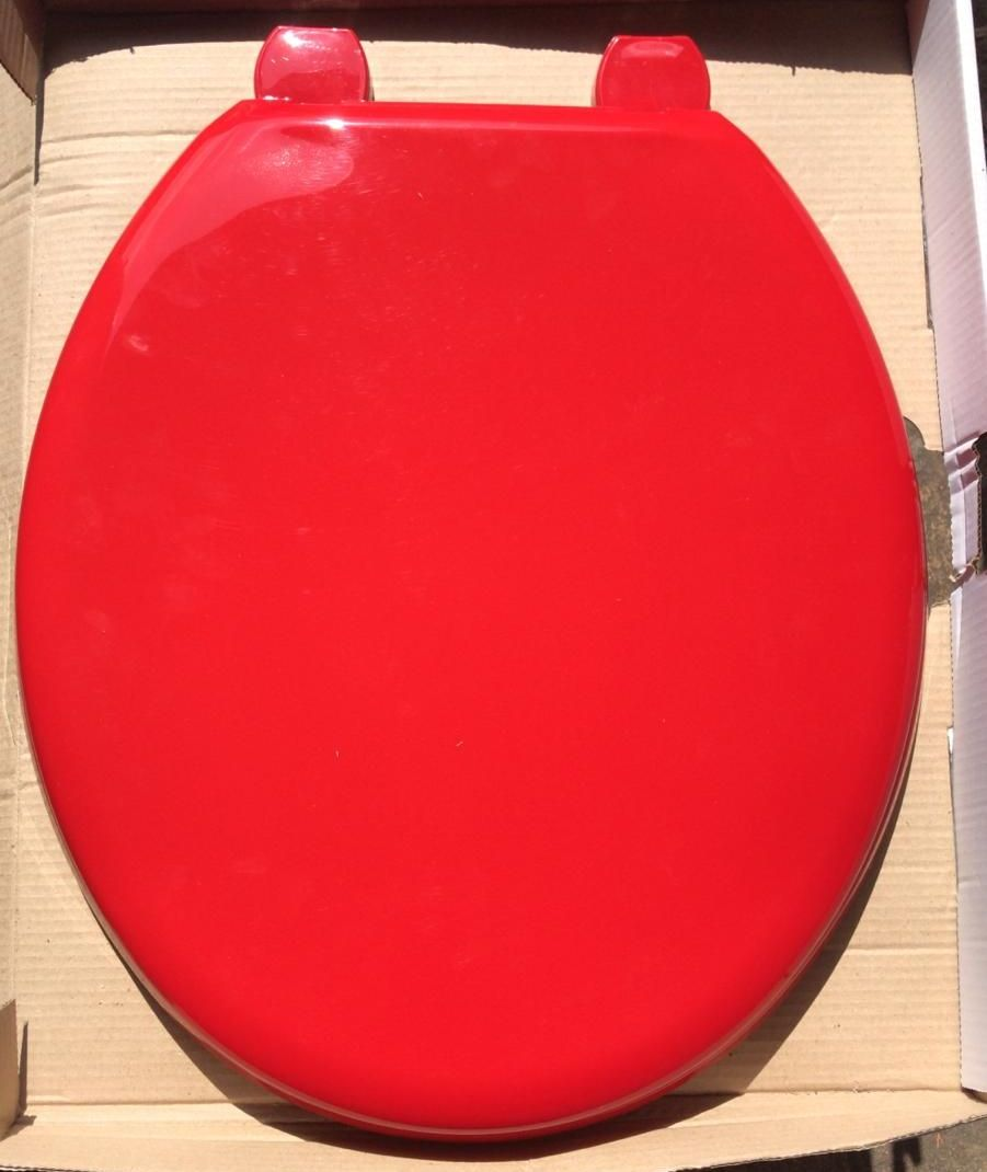 Solid Red Tecnoplast Plastic Toilet seat by Bemis