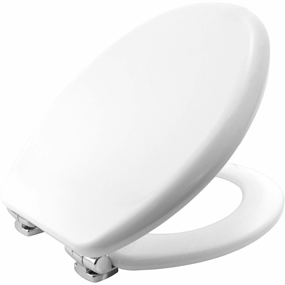 Bemis 4402 XXL Moulded Wood White Toilet Seat w/ chrome finish hinge