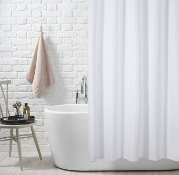Simple White Fabric Shower Curtain by Euroshowers