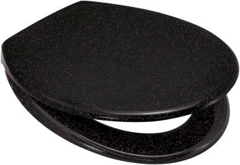 Black Pink Glitter Duroplast Soft Close Toilet Seat w/ One Button Release