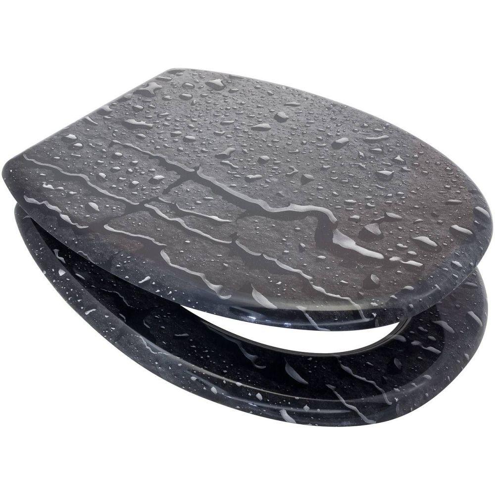 RTS Black Water Drop MDF Toilet Seat