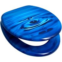 Blue Water Drop MDF Wood Toilet Seat by Duschy