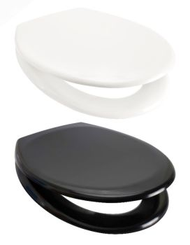 White / Black Duroplast Moulded Toilet Seat with Adjustable 215  mm Wide Chrome Hinge