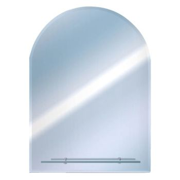 Euroshowers Round Top Bevelled Mirror 50x40cm with Glass Shelf